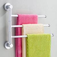 aluminium towel rail - New Convenient Practical Arm Bar Aluminium Bathroom Wall Mounted Towel Swivel Rack Rail Holder Hanger Silver