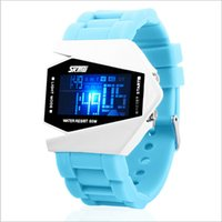 Wholesale Silicon Brand Wrist Watches - Hot SKmei wrist watch Airplane shape Individuality Silicon watches LED 5 colors Noctilucent Brand Upscale Waterproof Sports watches