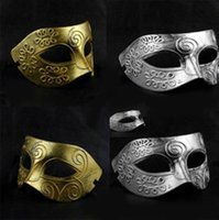 Wholesale Men s Greco Roman Gladiator Retro Greek Masquerade Mask Make By PVC AndHave Gold And Silver Two color Optional