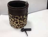 upholstery leather - Mobile phone holder black car leather upholstery car leopard outlet sundries bag cell phone bottles glasses pocket glove