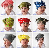 Wholesale Baby s Caps Hats Baby Ox Horn Cap Infant Cute Beanie Hat Colors Boys Girls Striped Polka Dots Camouflage Skullcap Baby Cotton caps hats