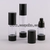 airless pump sprayer - 15ml black base airless plastic bottle ml eye cream pump bottles ml clear airless bottle with black base