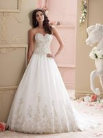 Wholesale New arrival elegant A line wedding dresses sweetheart custom made backless sequins beaded lace appliques wedding bridal prom gowns