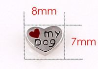 Charms Slides, Sliders Hearts, Love New 20PCS lot Heart Love My Dog Floating Charms Fit For Glass Living Locket Jewelry Making