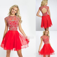 Wholesale Chiffon Strapless Short Prom Dresses - Charming Sexy A Line Cherry Chiffon Open Back Short Prom Dresses Beaded Crew Neckline Sleeveless Cute Mini Formal party Homecoming Dresses