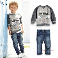 best quality jeans brands - Fashion Style Boys Suits Baby Boys Long Sleeve Cartoon Shirt Pants Jeans Outfits Set Best Quality Suits Children Kids Clothing Set