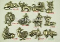 Cheap vintage chinese twelve zodiac new keyring pendant alloy jewelry accessories,keychain DIY charms