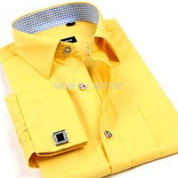 Wholesale French cuff button Formal Dress shirt High Quality Non Iron Long Sleeve Shirt Mens solid colour Printed Dobby Business Shirts