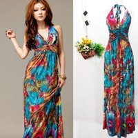 Cheap 2015 Sexy Women Summer Boho Halter V-Neck Long Maxi Evening Party Dress Beach Dresses,Y802,Free Shipping