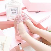 Wholesale 2015 Promotion White Pink Blue Women Flat Heel New Casual Sandals Peas Shoes Flat Summer Woman Rhinestone Flowers Net Yarn