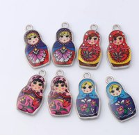 Charms angels siding - MIC New Two Sided Color Enamel Matryoshk Russian Doll Charm Pendants mm mm Jewelry Findings Components DIY