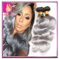 hair dye color - Cheap Malaysian brazilian Virgin Hair Body Wave Silver Ombre Hair Extensions Ombre Tone Colored T1B grey Human Hair Weave Bundles