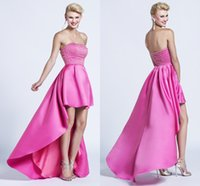 Wholesale New Backless Strapless Black Fuschia Cheap Long Sexy Party For Christmas Formal Evening Prom Dresses Dress High Low Crystal Ball Gowns