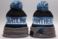 Wholesale Sports Beanies For Sale Cheap - New Panthers Beanies Sports Teams Hats Cool Winter Fashion Skull Caps with Pom Cheap Pom Pom Beanie Hats for Sale