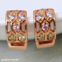 Wholesale Delicate K real gold plated Multi color CZ zircon hoop Earrings Fashion Jewelry DANA E260 earings display