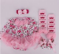 band leggings - autumn christmas clothes floral newborn baby romper with tutu dress head band shoes leggings set baby clothing set