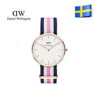 Wholesale Brand New Fashion Daniel Wellington Luxury Leather nylon starp silver Quartz Watch DW mm Waterproof Lovers Wrist Watch