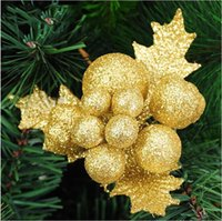 artificial tree leaves - Christmas tree decorations x14cm flash powder grain leaves Christmas cuttings ornaments hanging artificial flowers party supplies