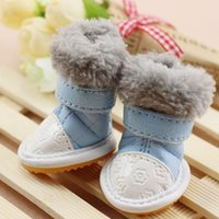 Wholesale 4pcs set Winter Pet Dog shoes pet boots Warm shoes for dogs XS XL Blue Red Pink