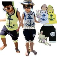 Cheap 2013 Boys girl clothing sets new arrival Beach Set Summer baby children Navy Beach Set anchor kids suit vest+short 2pcs set