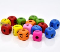 Wholesale Mixed Alphabet Letter Cube Wood Beads x9mm