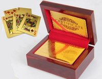 basketball card boxes - Excellent k Gold Poker Playing Cards Deck With Certificate Wooden Box Special Gift