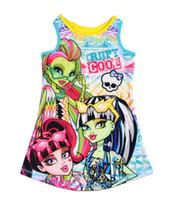 venda por atacado pyjama-crianças roupas monstro alta sem mangas crianças fresco Nightgowns sleepwear pijama pijamas 5pcs / lot