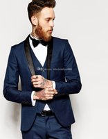 Wholesale Side Vent Slim Fit Groom Tuxedos Shawl Collar Men s Suit Navy Blue Groomsman Bridegroom Wedding Prom Suits Jacket Pants BowTie vest J769