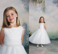Cheap In Stock Cheap Flower Girls Dresses 2015 Ball Gown White Color Ankle Length China Made Beaded Sashes Formal Pageant Kids For Wedding Event
