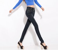 high waist jeans plus size - NEW Women s Light Blue Jeans Stylish Stretch Skinny Legging Jean All match Ladies High Waist Tights Pencil Jean Pants Plus Size FNZ192 B
