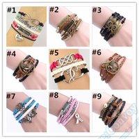 Wholesale Various Designs Leather Bracelet Antique Cross Anchor Love Peach Heart Owl Bird Believe Pearl Knitting Wristband Metal Charm Bracelets JBR