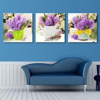 Wholesale 3 Panel Canvas Art Modern Wall Painting Purple Lavender Flowers Home Decorative Art Picture Paint on Canvas Prints no frame