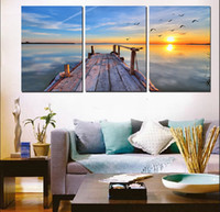 arch lamp - 3 Pieces sea Picture on Canvas Prints tree Grape flower windmill Eiffel Tower Triumphal Arch street lamp Lavender Wooden pier