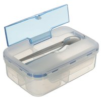 Wholesale Hot Selling Modern Ecofriendly Outdoor Portable Microwave Lunch Box with Soup Bowl Chopsticks Spoon Food Containers mL