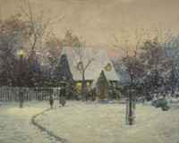 Wholesale Thomas Kinkade Oil Landscape Painting Evening Majesty Living Room Wall Painting Large Canvas Roller Blinds Wall Decor Stick