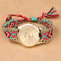 Wholesale fashion ladies watch Brand Handmade Braided Friendship Bracelet Watch Geneva Hand Woven Watch Ladies Quarzt Watch