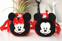Wholesale Red Minnie Plush Messenger Sling Bags Mickey mouse Shoulder Girl Cartoon Schoolbag