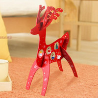 beautiful wooden toys - Wooden Red Christmas Reindeer Desktop Wood Xmas Deer Beautiful Festive Decoration Children Gift New Year Baby Gifts Lovely Toys