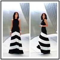 Wholesale Sexy Stripes Dress White Black - Black and white striped maxi dress backless dress summer dresses formal dresses evening Sexy Women Stripes Long Maxi Evening dress 6559#