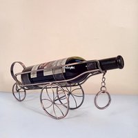 bar trolley - 2pcs Creative home bar wine bottle holder home decor New listing three European fashion wrought iron wine rack trolley craft wine bottle dec