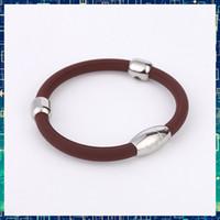 Wholesale Sports Magnetic Rubber Bracelets - Wholesale-Noproblem SB90095 tourmaline bio magnetic health charm fashion sports fitness power wristband rubber bracelet