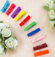 Wholesale Memo Postcard Photo Clip Mixed Color Patinting Wood Clip x8mm Home Crafts Decoration Knopf Bouton
