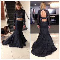 Wholesale Long Sleeve Black Mermaid Prom Dresses Party Evening Blissbride Crystal Beadings Two Pieces Formal Dresses Evening Wear Sweep Train