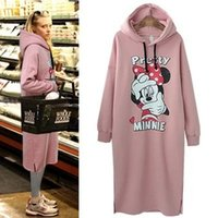 Wholesale 2016 Hot Sale Cartoon Micky Printed Thicken Long Women Sweatshirts with Hood Fashion Cotton Long Sleeve Women Long Fleece Dress Long T Shirt