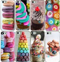 apple desserts - 2015 new arrival hot dessert ice cream Macarons fruits strawberry sweet emboss hard cover UV print phone case for iphone s A5