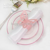 Cheap Tracking Number-Free Shipping-100pcs Pink Color Vintage Style Paper Butterfly Napkin Rings Wedding Supplies Napkin holder
