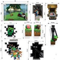 Wholesale Minecraft D Wall Stickers Creeper Decorative Steve Dig Wall Decal Cartoon Wallpaper Kids Party Decoration Festival Wall Art Poster E010
