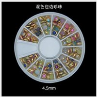 Wholesale Nail Art Rhinestones Pro mm Colorful Mixed Alloy Nail Art Artificial Pearl Decorations Sticker Wheel Box Nail Art Salon Tools Nail DIY