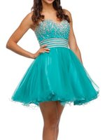 Cheap Christmas 2014 Mini Cocktail Dresses Sweetheart Backless Crystal Peplum Organza Piping Cocktail Party Dresses A-Line Ladies formal Dresses
