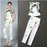 Wholesale 2015 spring and summer suit female sequined sleeveless shirt printing leaves Pant Suit
